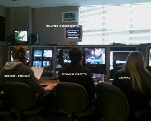 The classroom studio during a production