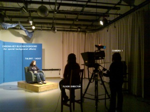 A look inside the TV studio during a live production
