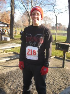 Heather representing Muskingum at her 2nd 5-mile trail race in Akron, OH