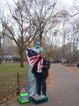 There was a woman posing as the Statue of Liberty in Central Park. We got our pictures taken with her.