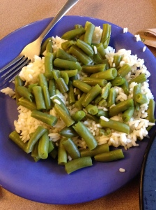 This is part of one of my lunches this week. A big portion of rice, covered with green beans!