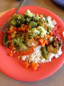 Stir-fry--which is usually set up to where you can pick and choose what toppings you put on your rice.