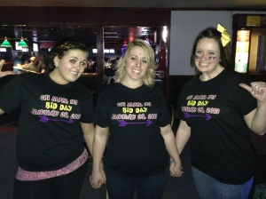 Bid Day last semester we went bowling. I am in the middle of two of our new members, Maddie and Katie