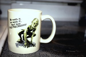 My favorite nerdy coffee mug that I bought because I saved specifically to get it!