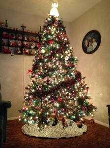 A picture of our Christmas tree finished and decorated