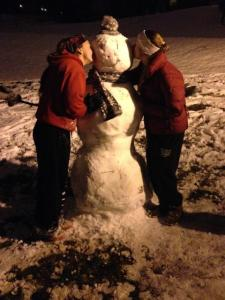 The snowman my roommate and I made last time it snowed a lot on campus this past December!