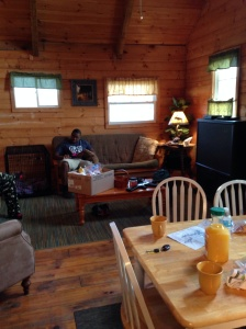 The downstairs part of the cabin